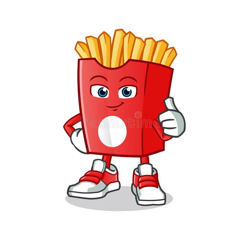 Pouces frits de fritures vers le haut d'illustration de bande dessinée de vecteur de mascotte photo libre de droits