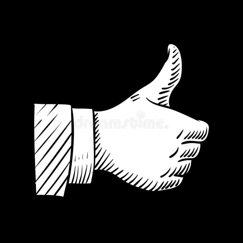 Pouces tirés par la main vers le haut de l'élément de vecteur d'isolement sur le noir illustration libre de droits