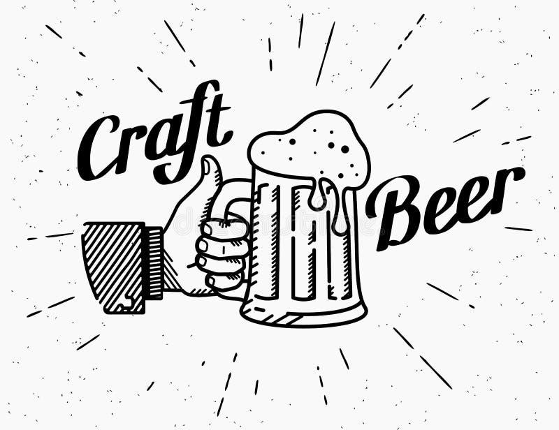 Pouces vers le haut d'icône de symbole avec la tasse de bière de métier illustration libre de droits