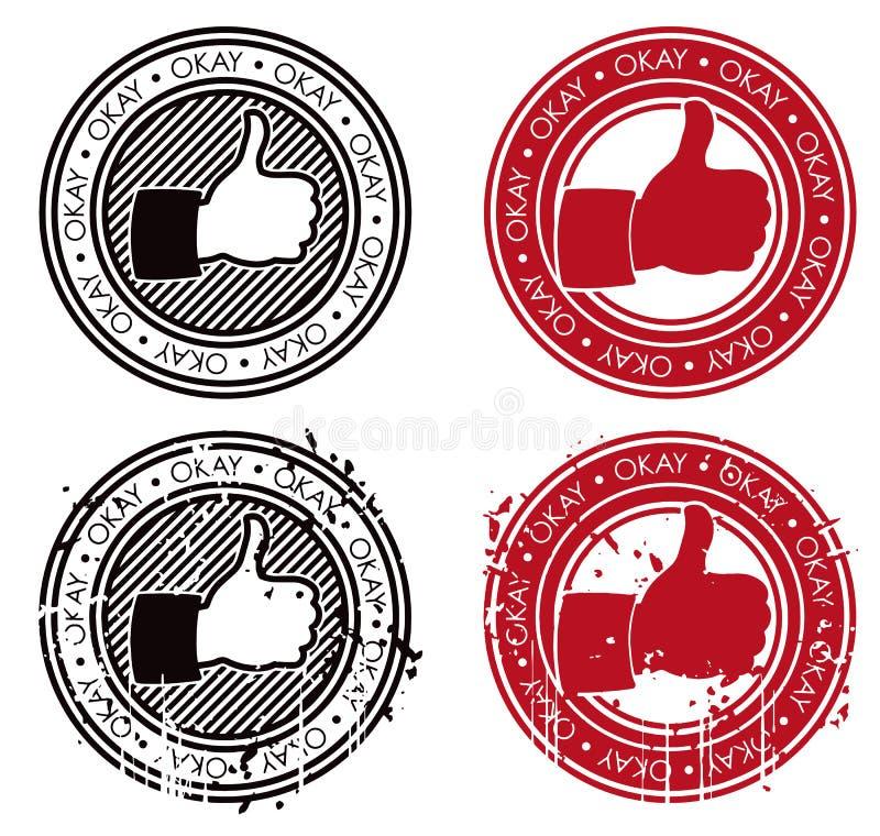 Pouces vers le haut de timbre CORRECT illustration stock