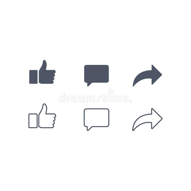Pouces vers le haut et avec des icônes de repost et de commentaire sur un fond blanc Icône sociale de media, icône compréhensive  illustration libre de droits