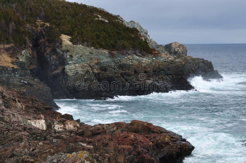 Pouch Cove sea caves stock images
