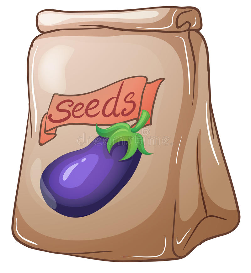 A pouch of eggplant seeds. Illustration of a pouch of eggplant seeds on a white background stock illustration