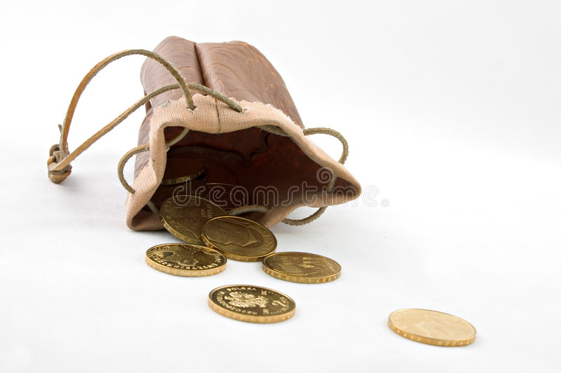 Download Pouch with gold coins stock photo. Image of money, strap - 2940868