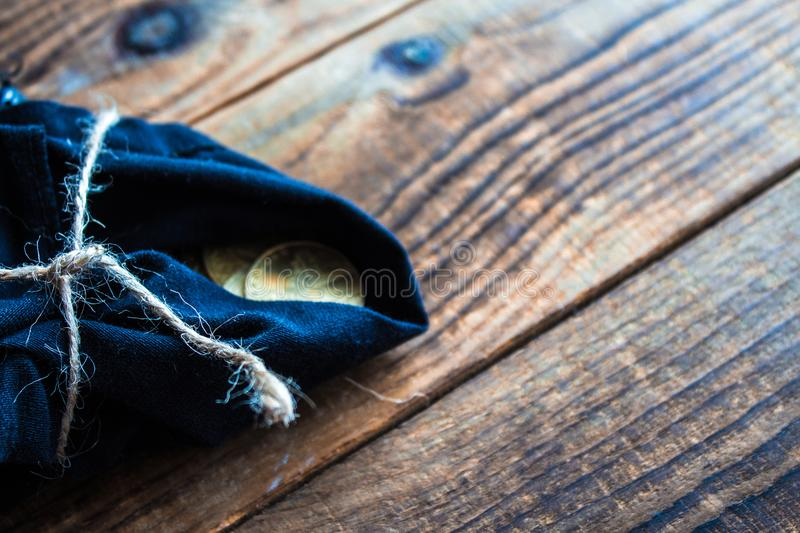 Pouch of gold coins royalty free stock image