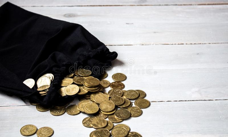 Pouch of gold coins stock image