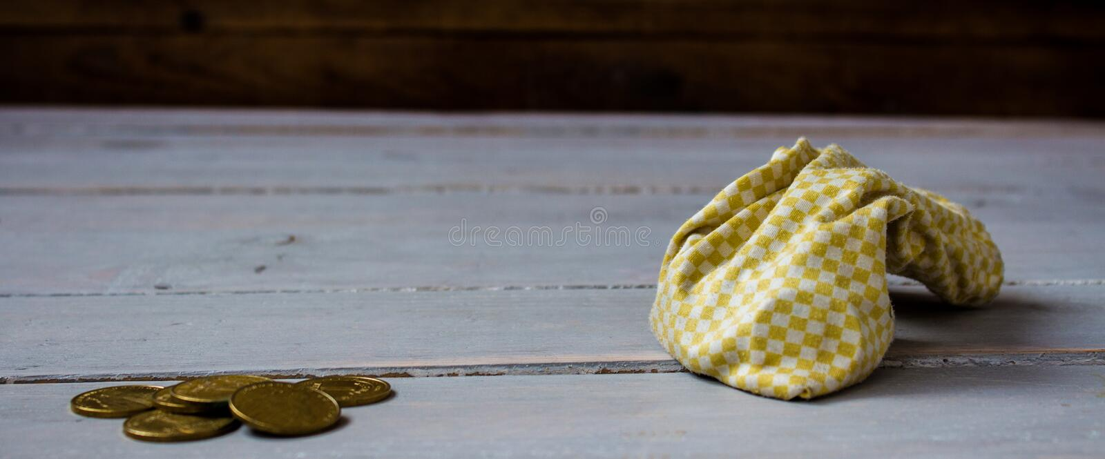 Pouch of gold coins stock images