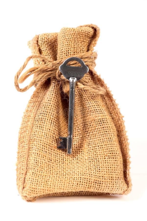 Pouch and key royalty free stock photo
