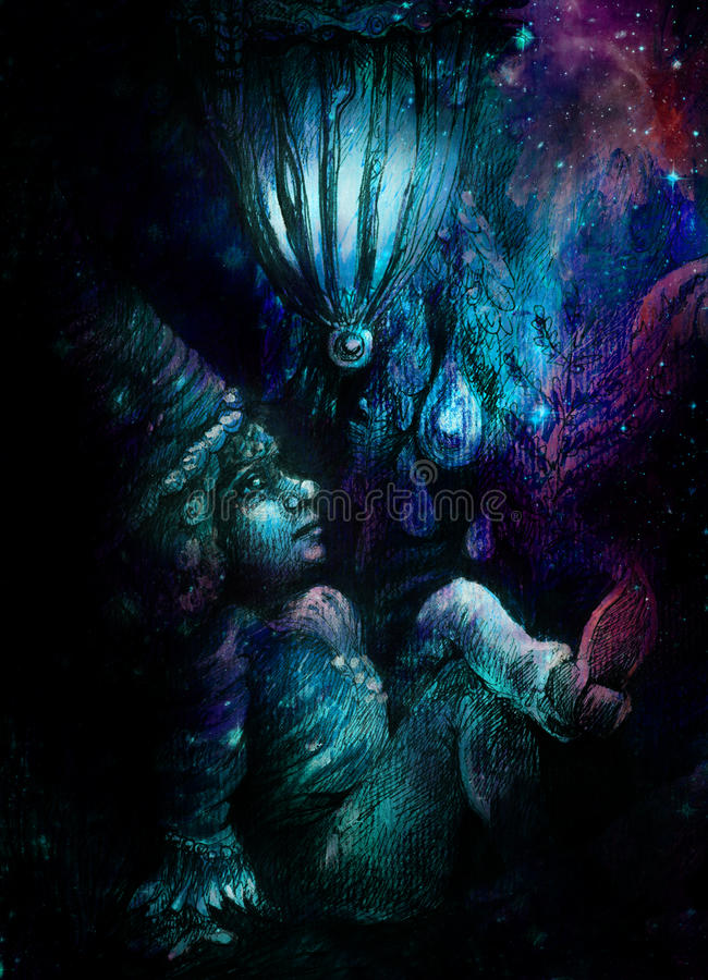 Pouco anão da floresta no azul e no violett cianos, ilustração colorida ilustração royalty free