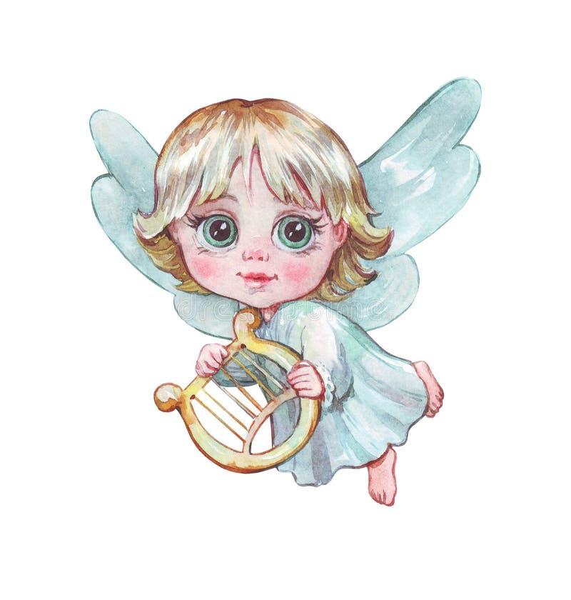 Pouco anjo com um voo da harpa imagens de stock