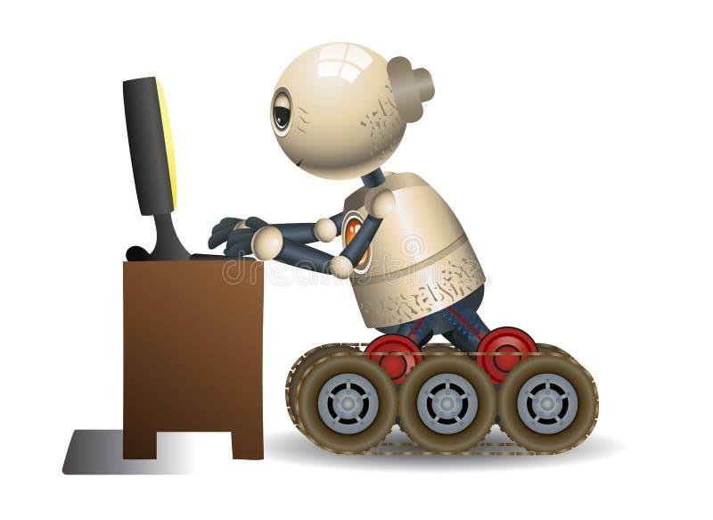 Pouco avó do robô que aprende o computador ilustração stock