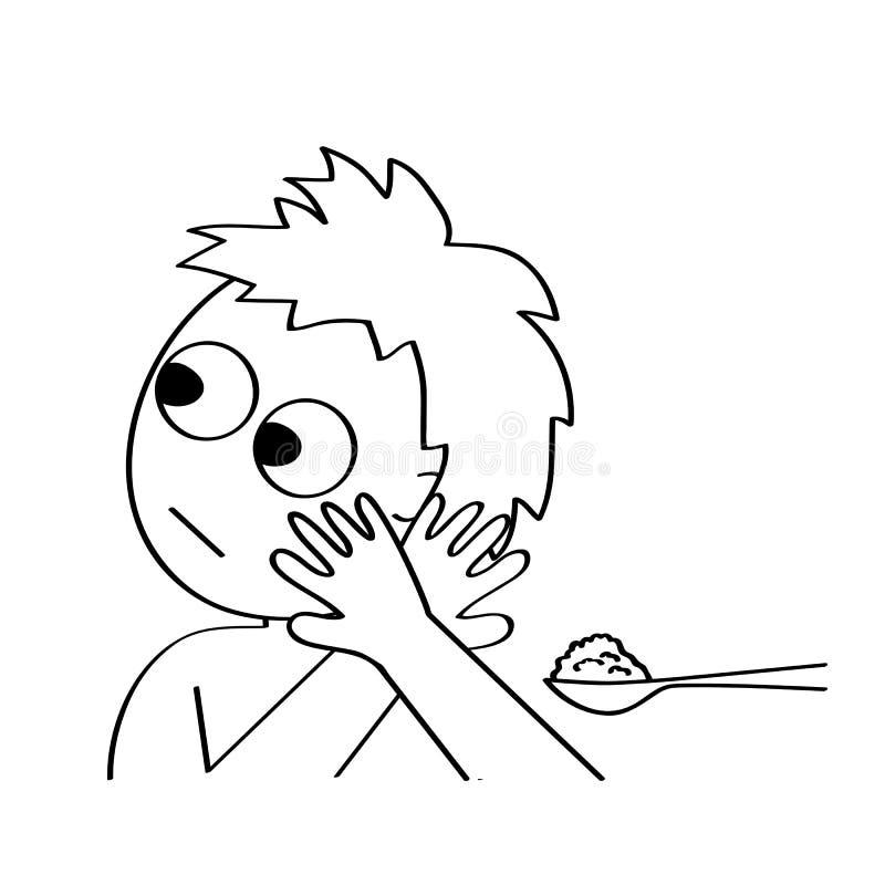 Pouco bebê sem o apetite na frente da colher com refeição Ilustração do vetor do esboço ilustração royalty free