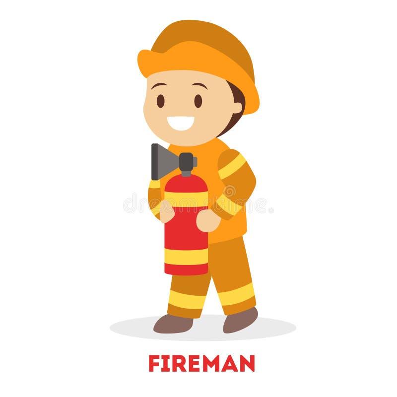Pouco bombeiro da brincadeira Sapador-bombeiro da criança no uniforme ilustração stock