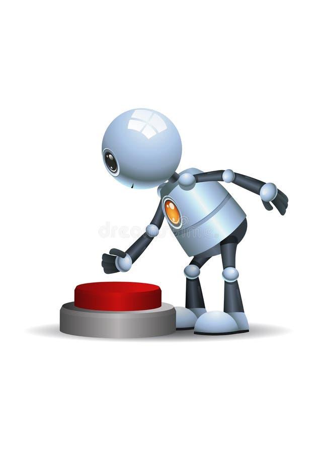 Pouco botão vermelho do impulso do robô ilustração stock