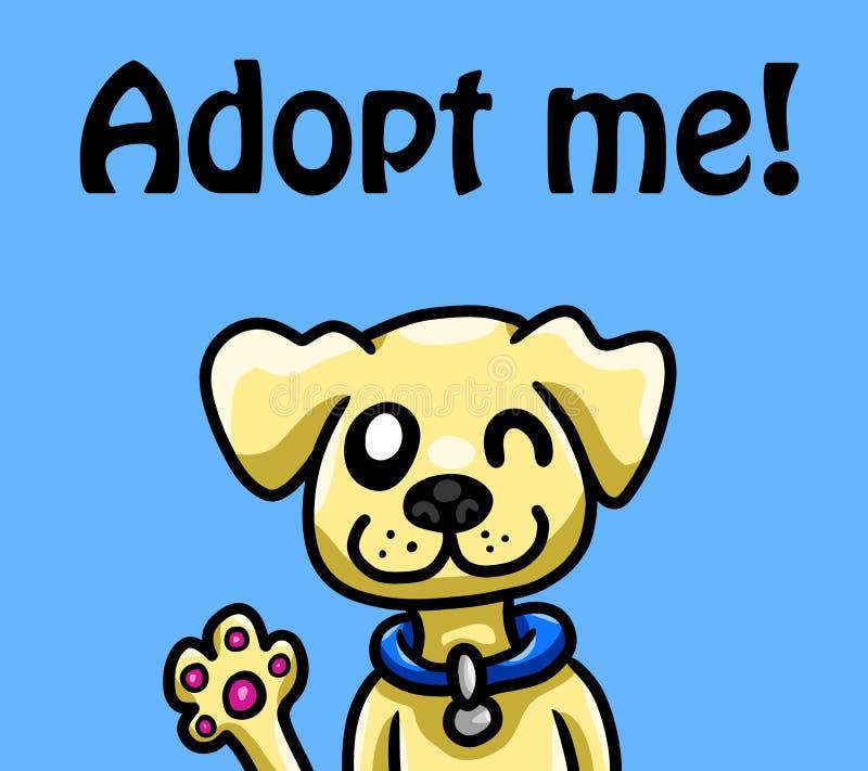 Pouco cão é de ondulação e de desejo ser adotado ilustração royalty free