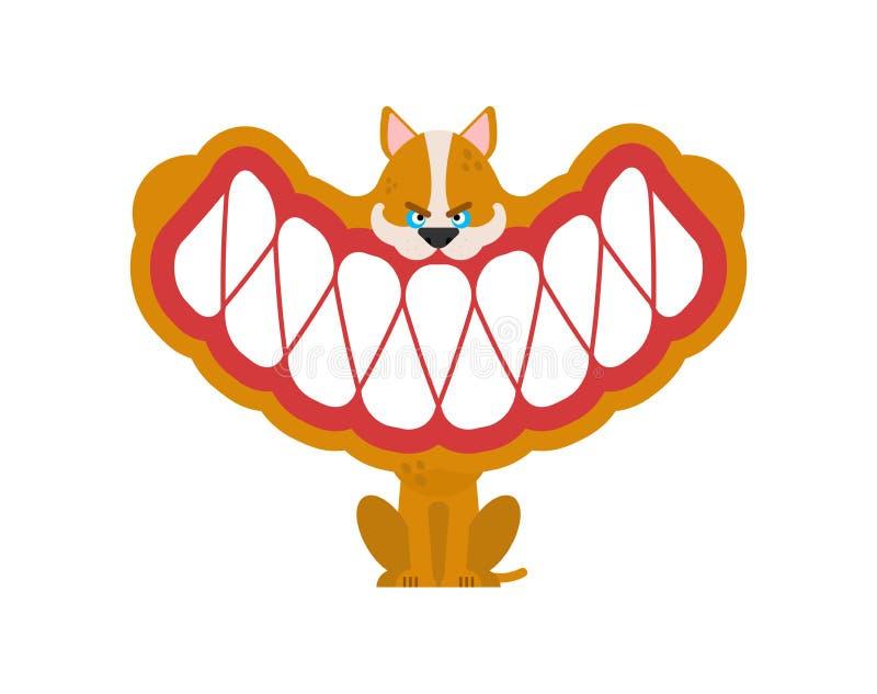 Pouco cão irritado com dentes grandes os dentes pequenos do animal de estimação sorriem ilustração royalty free