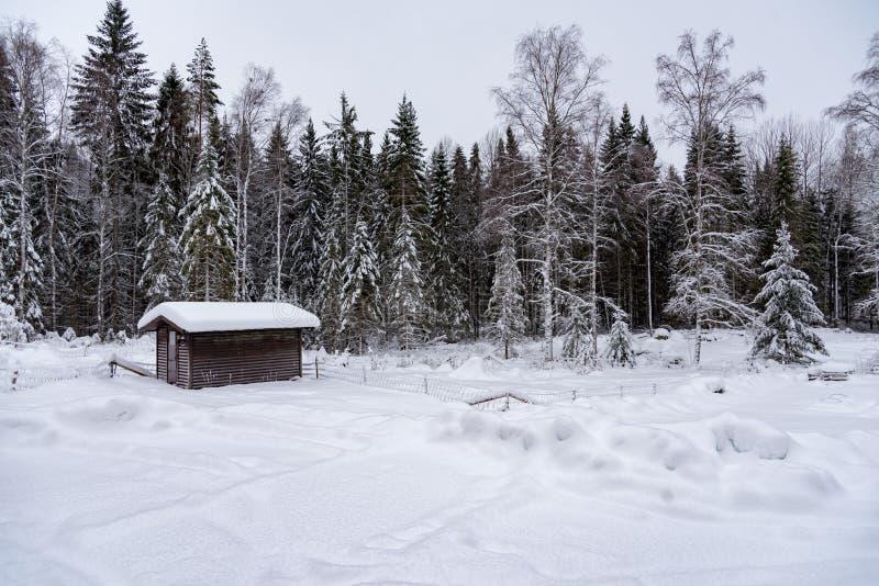 Pouco cabana rústica de madeira marrom na neve em sweden imagens de stock royalty free