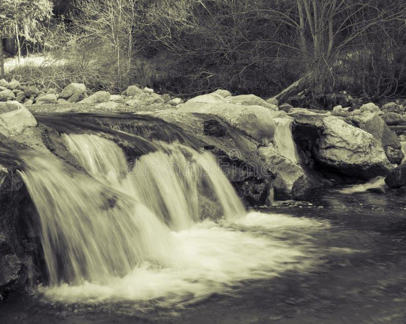 Pouco cachoeira em preto e branco foto de stock royalty free