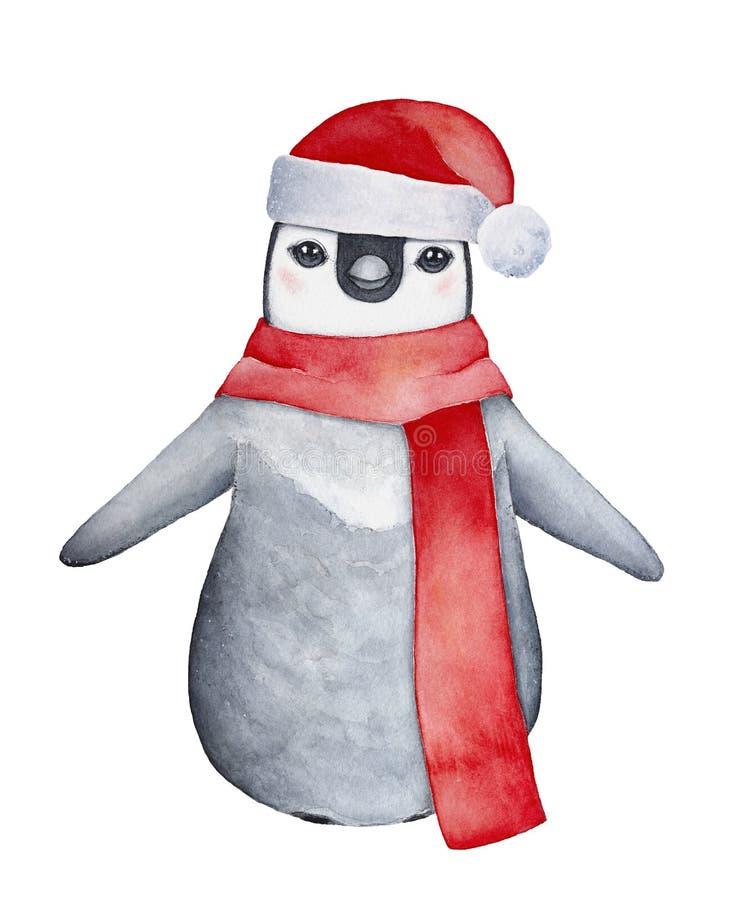 Pouco caráter encantador do pinguim do bebê no chapéu de Santa, ilustração do vetor