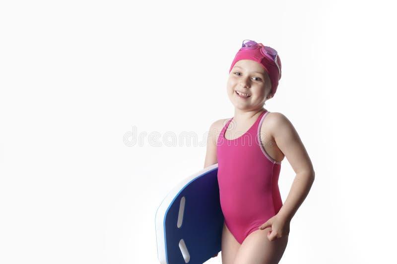 Pouco caucasian 6 anos de nadador idoso fotos de stock royalty free