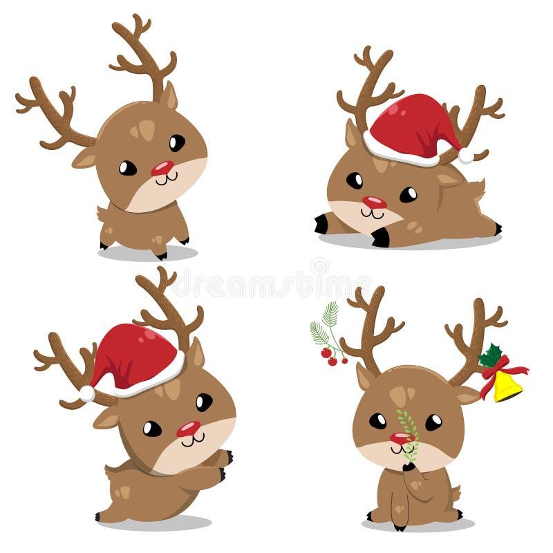 Pouco cervos no dia de Natal ilustração royalty free