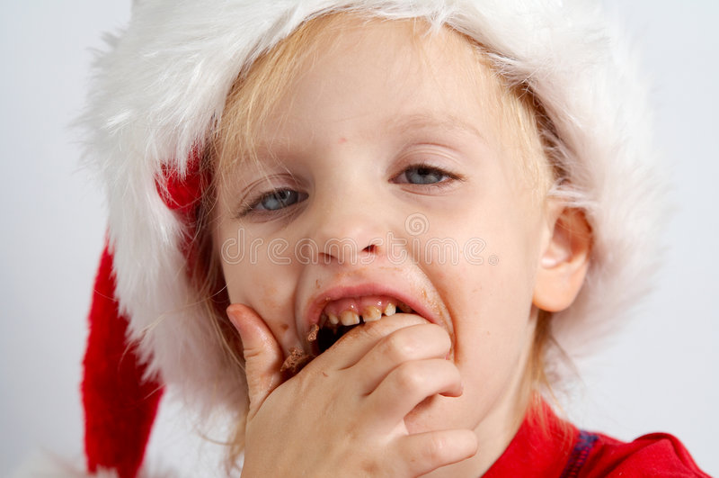 Pouco chocolate Santa imagem de stock royalty free