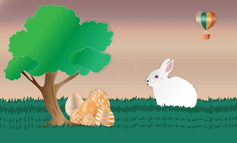 Pouco coelho no jardim verde, com ovos coloridos sob a árvore grande e um balão que flutuam acima do céu, Páscoa feliz - ilustração do vetor