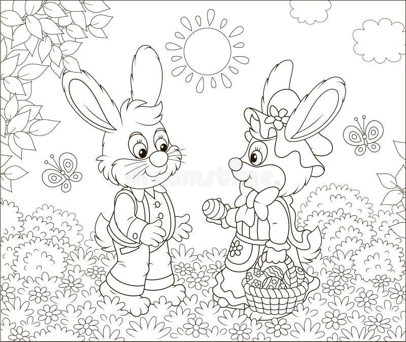 Pouco coelhos com uma cesta decorada da Páscoa ilustração stock