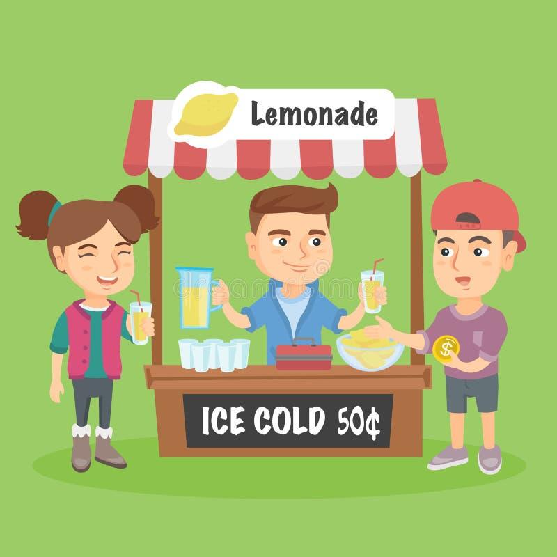 Pouco criança caucasiano que vende a limonada ilustração do vetor