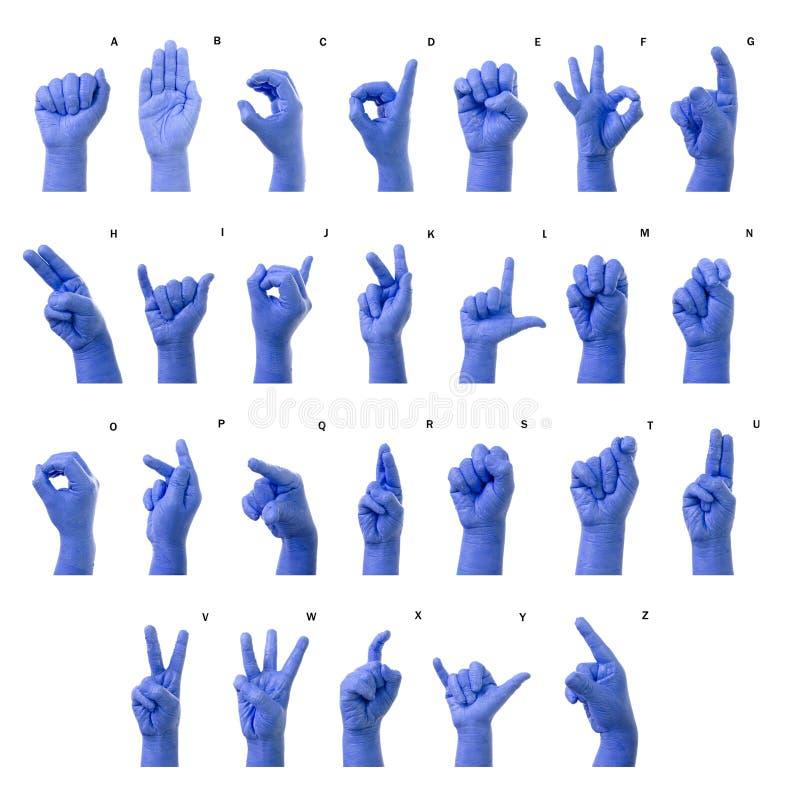 Pouco dedo que soletra o alfabeto na linguagem gestual americana (A imagens de stock royalty free