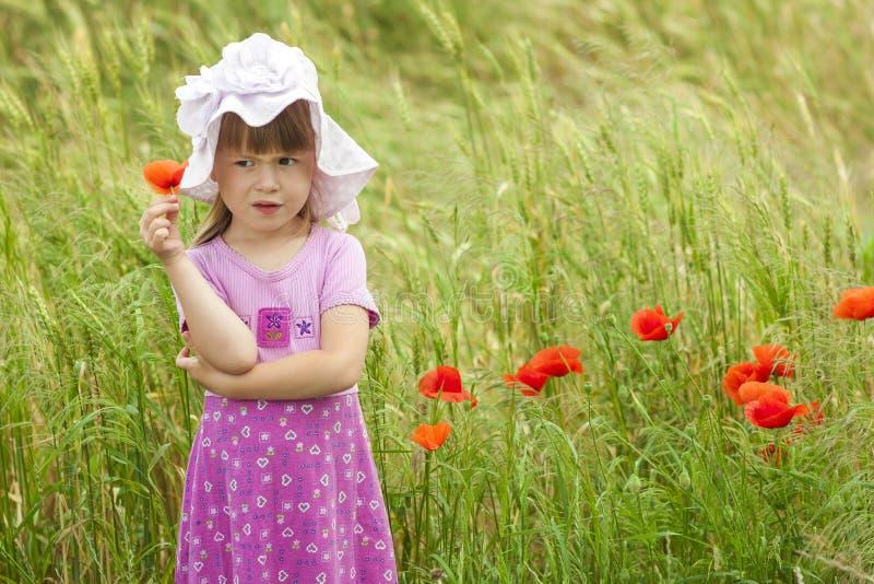Pouco desagradou e descontentou a menina bonito com flor vermelha imagens de stock
