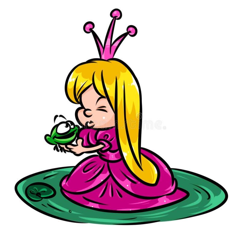 Pouco desenhos animados de beijo do conto da rã da menina bonita da princesa ilustração stock