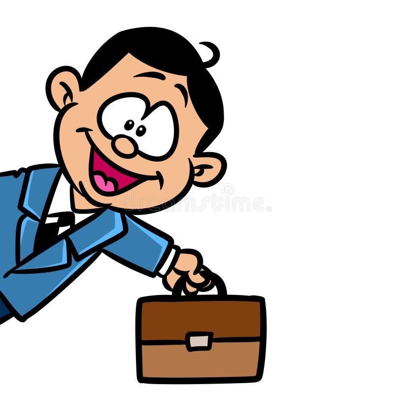 Pouco desenhos animados do caráter do sucesso da pasta do homem de negócios ilustração do vetor
