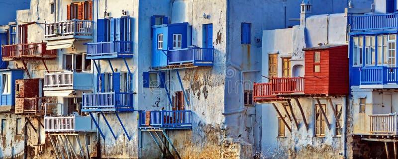 Pouco detalhe de Veneza, Mykonos fotografia de stock