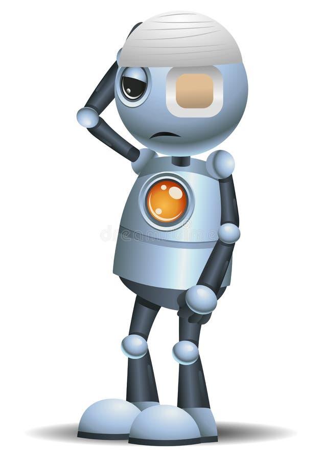 Pouco doente do robô no fundo branco isolado ilustração stock