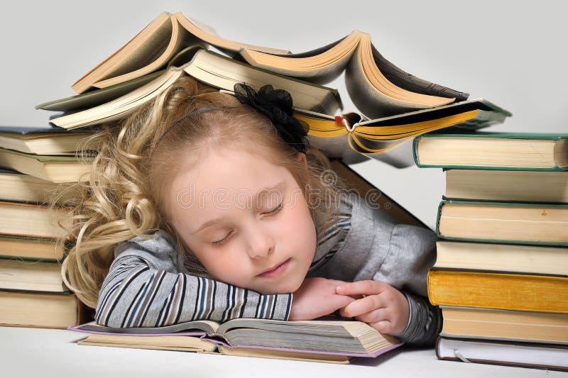 Pouco dormindo entre livros fotos de stock royalty free