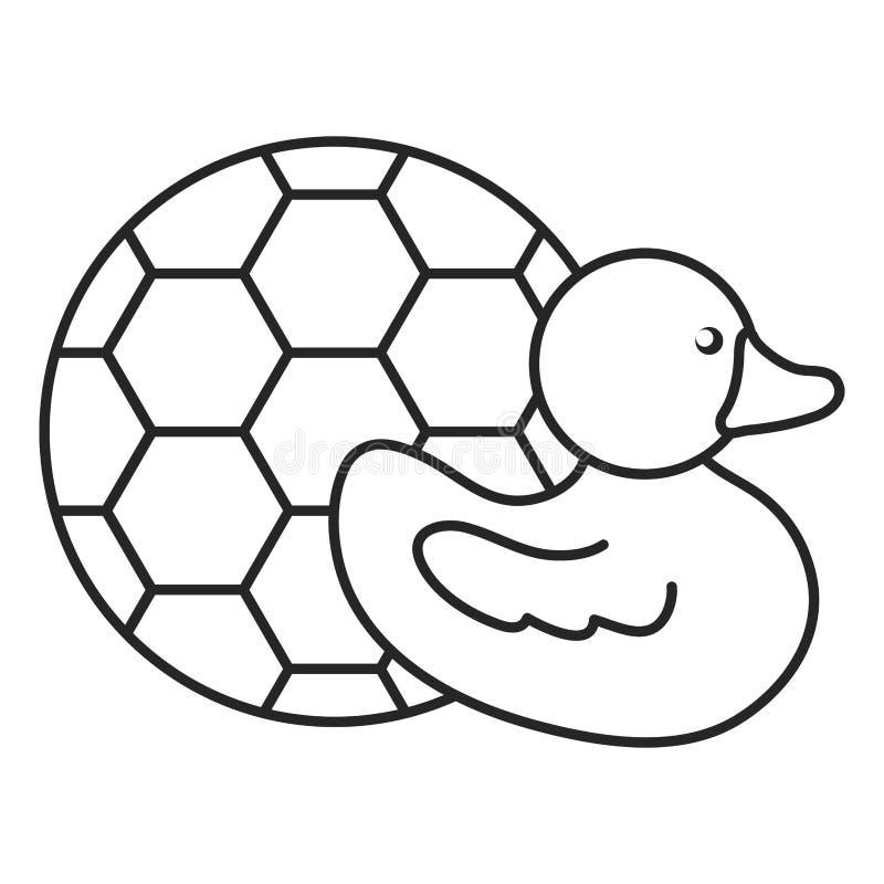 Pouco ducky com entretenimento do brinquedo da bola de futebol ilustração do vetor