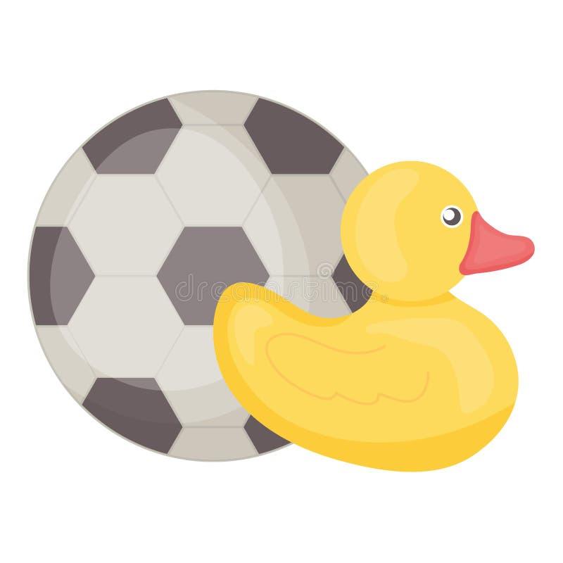 Pouco ducky com quadro do quadrado do entretenimento do brinquedo da bola de futebol e illustraitor do vetor dos elementos do ani ilustração do vetor