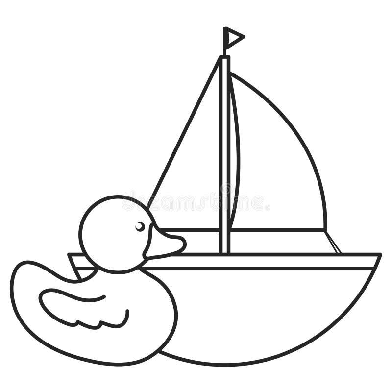 Pouco ducky e entretenimento do brinquedo do veleiro ilustração royalty free