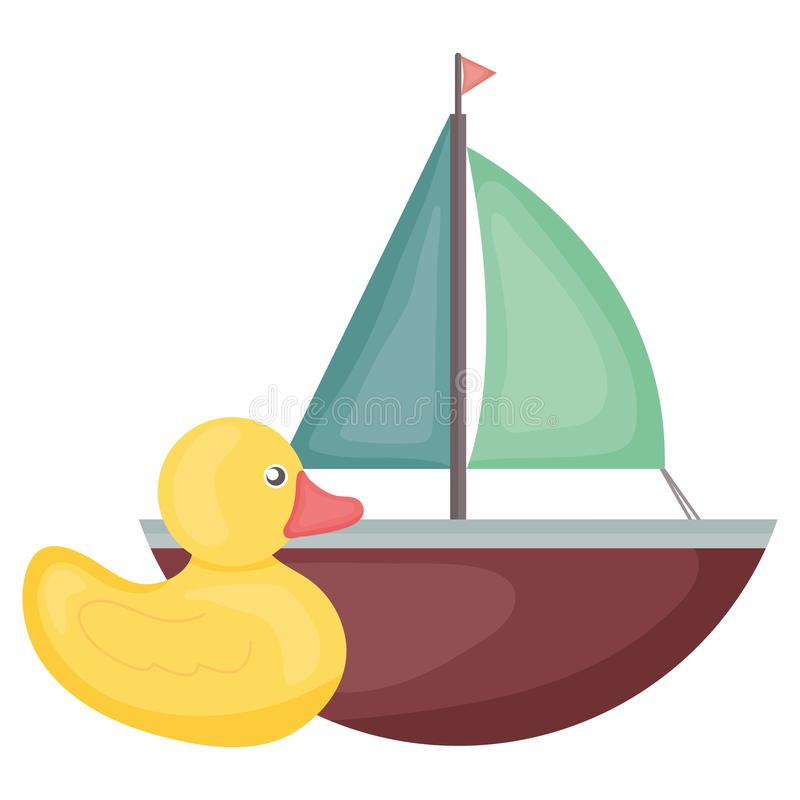 Pouco ducky e quadro do quadrado do entretenimento do brinquedo do veleiro e illustraitor do vetor dos elementos do aniversário ilustração stock
