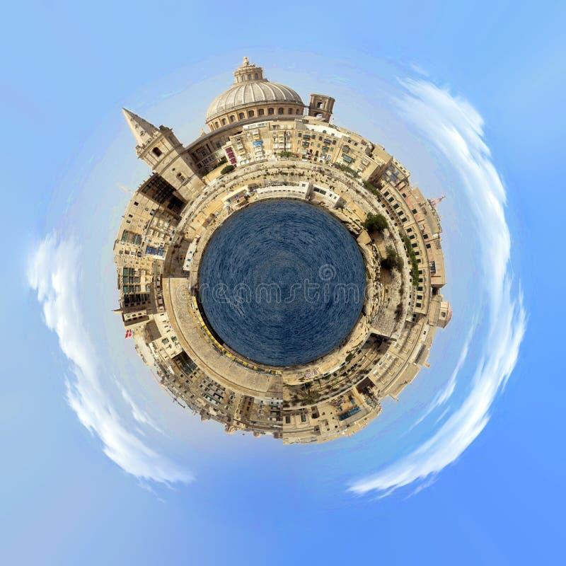 Pouco efeito do planeta em Valletta, capital de Malta foto de stock royalty free