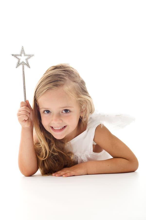 Pouco fairy do anjo com varinha mágica fotografia de stock royalty free