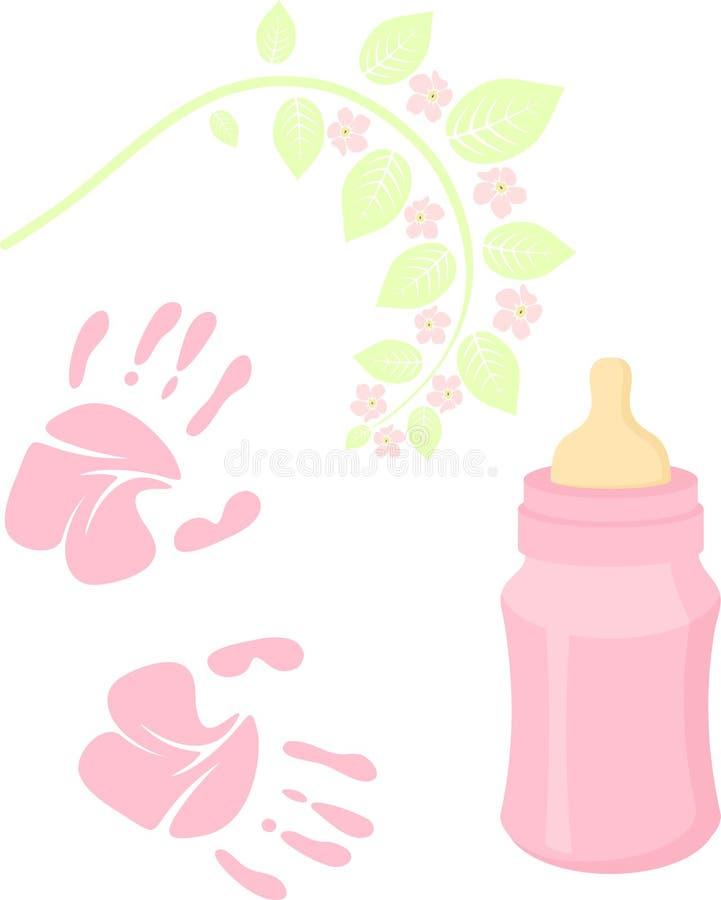 Pouco festa do bebê da senhora relacionou a coleção dos artigos Jogo recém-nascido Elementos do bebê, handprint, garrafa de cuida ilustração stock