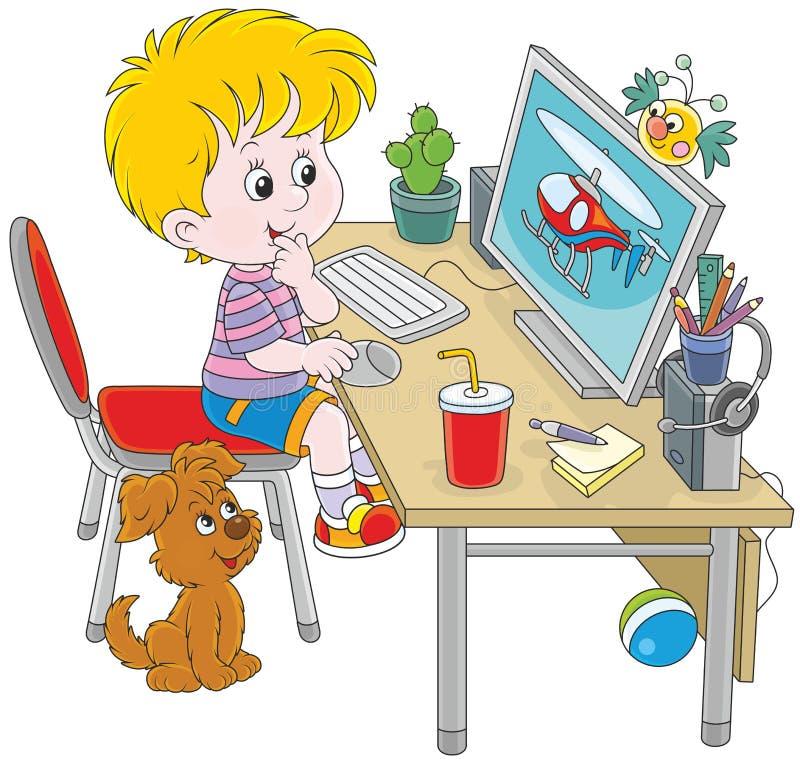 Pouco gamer do computador ilustração stock