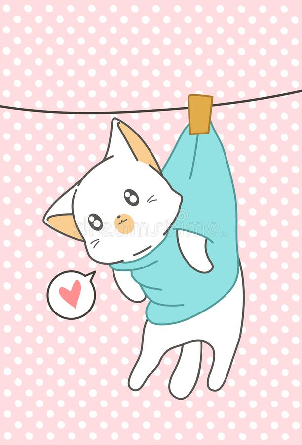 Pouco gato foi pendurado no estilo dos desenhos animados foto de stock