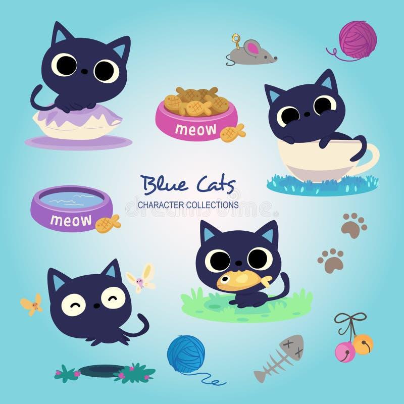 Pouco gatos azuis ilustração do vetor