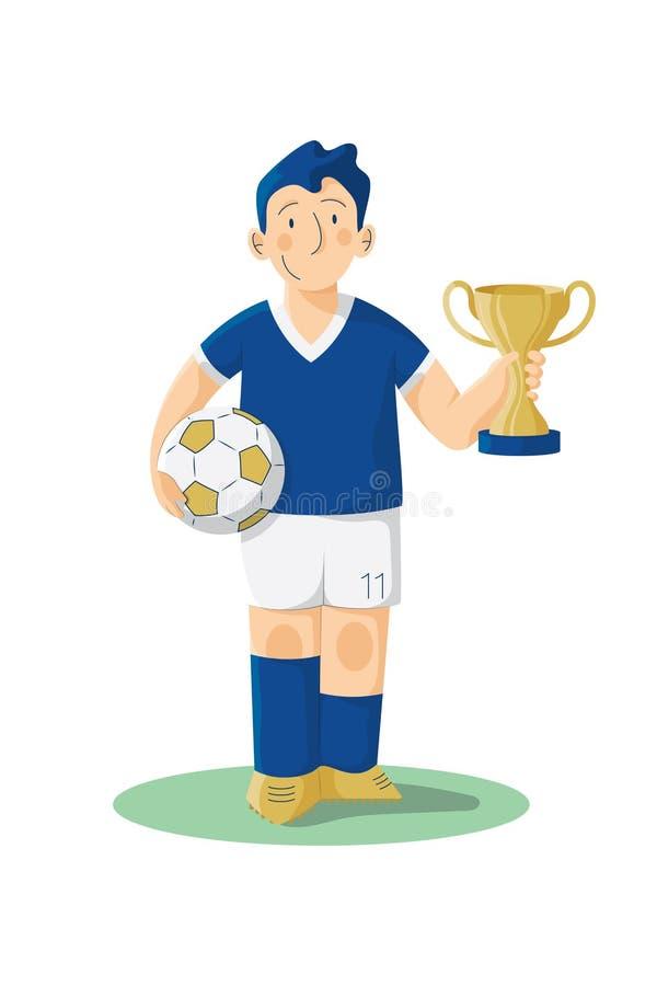 Pouco jogador de futebol com copo fotos de stock royalty free