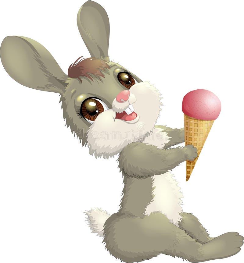 Pouco lebre do coelho com o cone de gelado ilustração royalty free