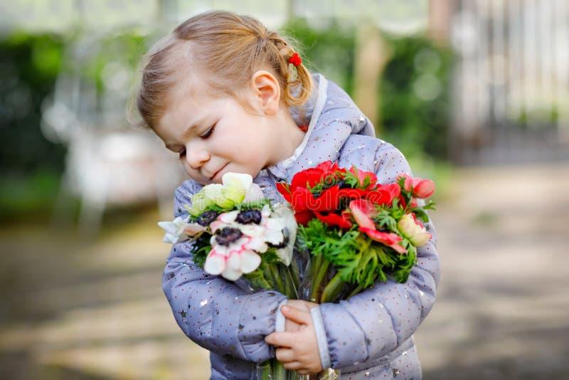 Pouco menina bonita da criança com as flores vermelhas e brancas do ranúnculo no jardim da mola Bebê bonito feliz que guarda fres fotos de stock