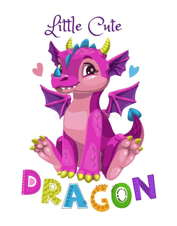 Pouco menina bonito do dragão do rosa dos desenhos animados Ilustração do vetor ilustração stock